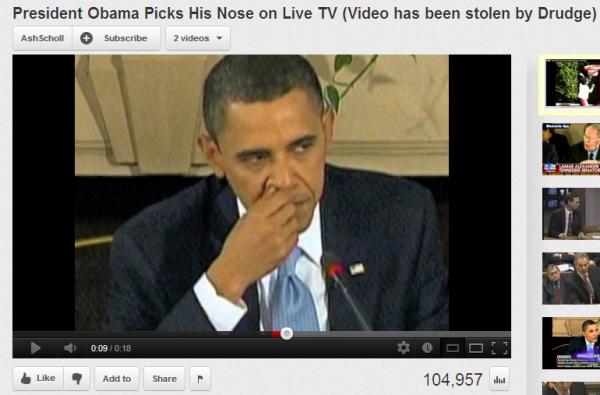 Prezydent USA Barack Obama dłubie w nosie w telewizji na żywo
