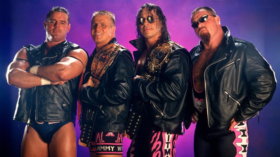 British Bulldog, Owen Hart, Bret Hart i Jim Neidhart - zapaśnicy z kanadyjskiej Hart Foundation